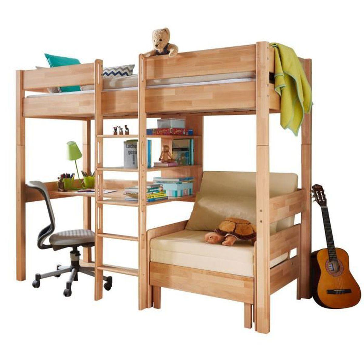 lit mezzanine combin 90x200 cm avec bureau fauteuil et 3 tag res en h tre massif h tre. Black Bedroom Furniture Sets. Home Design Ideas