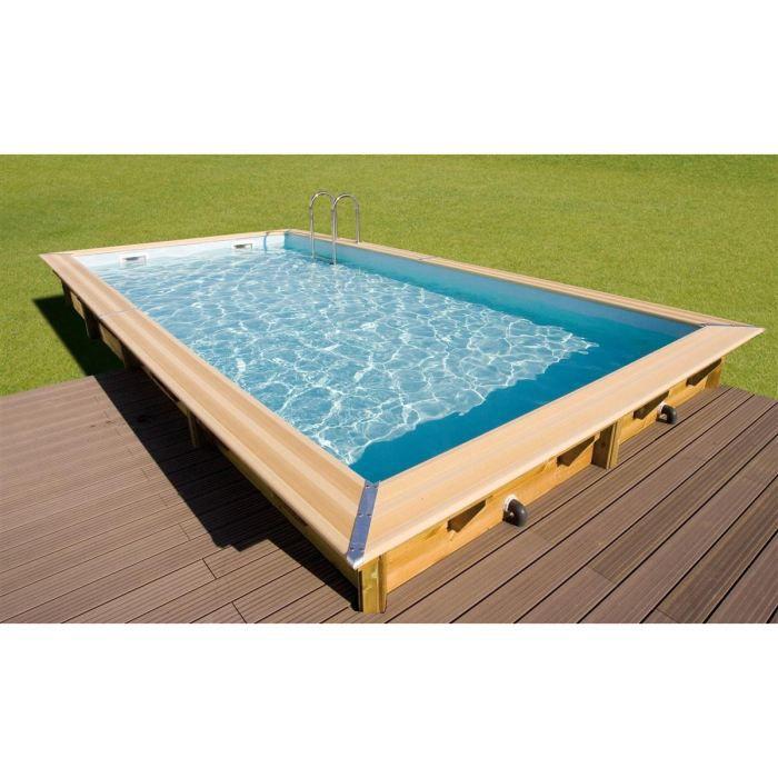 Ubbink piscine bois azura beige 350x650x126cm achat vente piscine piscine 350x650x126 for Piscine bois cdiscount
