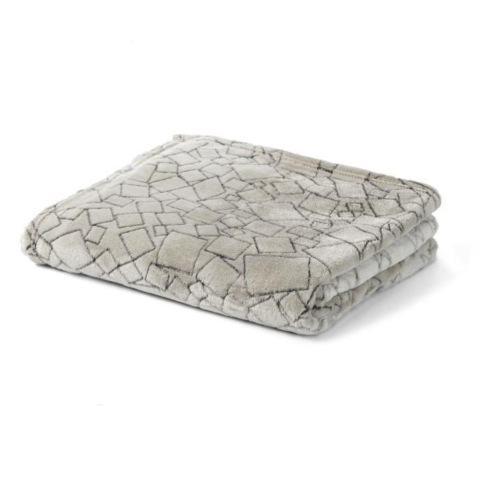 rubik plaid doux motifs gris gris achat vente. Black Bedroom Furniture Sets. Home Design Ideas