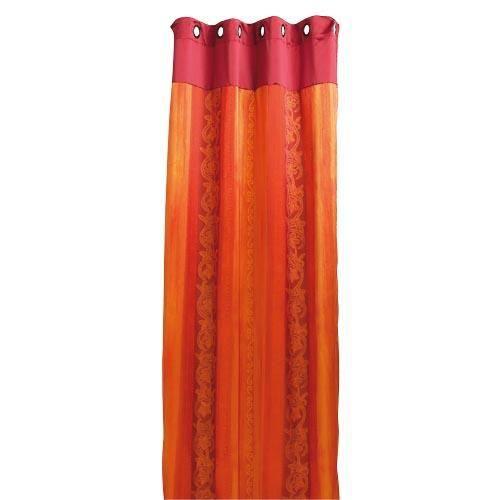 rideau voilage fantaisies avec oeillets rouge orange. Black Bedroom Furniture Sets. Home Design Ideas
