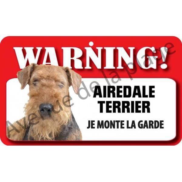 plaque attention au chien airedale terrier achat vente plaque de porte lettre decorative