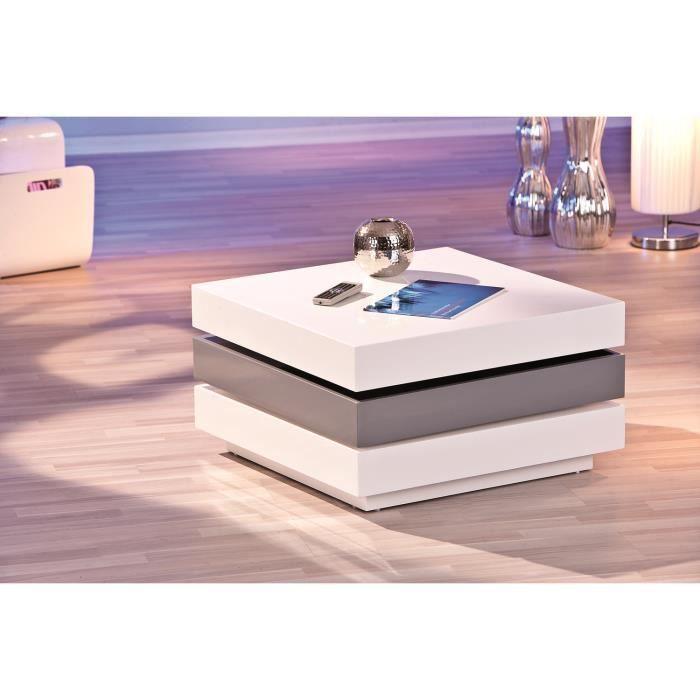 Table basse design carr 3 plateaux pivotants achat for Table basse carre laque blanc