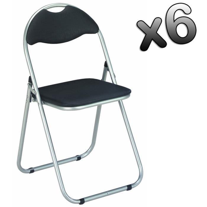 lot de 6 chaises pliante en tube d 39 acier coloris alu noir. Black Bedroom Furniture Sets. Home Design Ideas