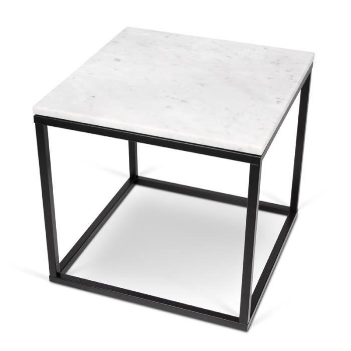 paris prix temahome table d 39 appoint 50cm prairie marbre blanc m tal noir achat vente. Black Bedroom Furniture Sets. Home Design Ideas
