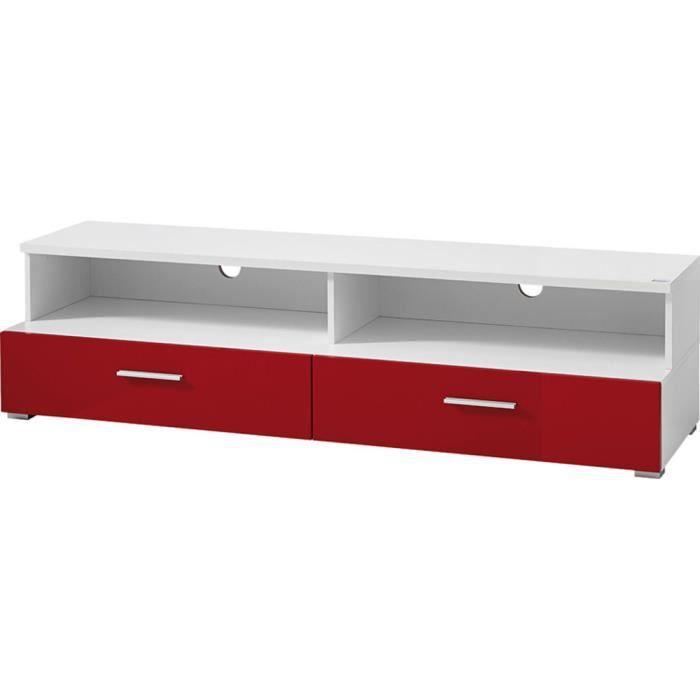 TV-élément bas avec façade rouge de 1 tiroir, 118 x 41 x 45 cm - TV ...