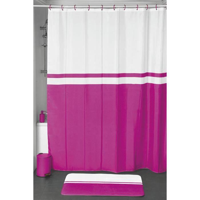 rideau de douche bicolore blanc et fushia achat vente rideau de douche les soldes sur. Black Bedroom Furniture Sets. Home Design Ideas