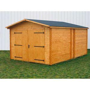 Garage 20,98m? en bois massif - Toiture en plaques ondulées