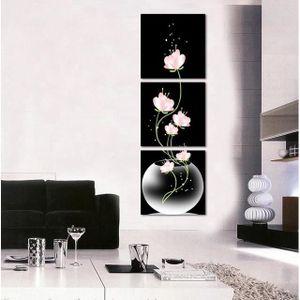 OBJET DÉCORATION MURALE Unframed Peinture 3 Panneau Rose Moderne Fleur Acc