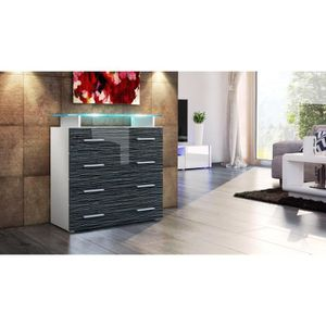 commode laque noir et blanc achat vente commode laque. Black Bedroom Furniture Sets. Home Design Ideas