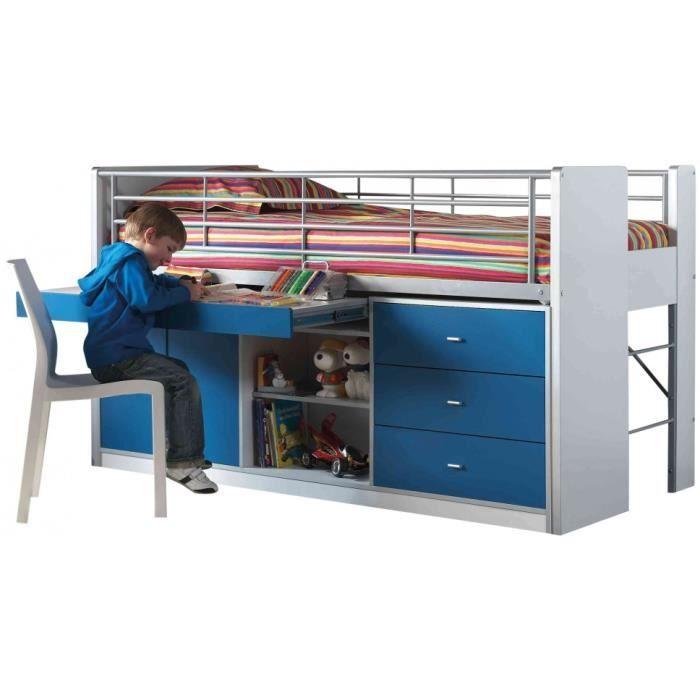 lit enfant bureau r tractable laqu bleu bonny achat vente lit complet lit enfant bureau. Black Bedroom Furniture Sets. Home Design Ideas