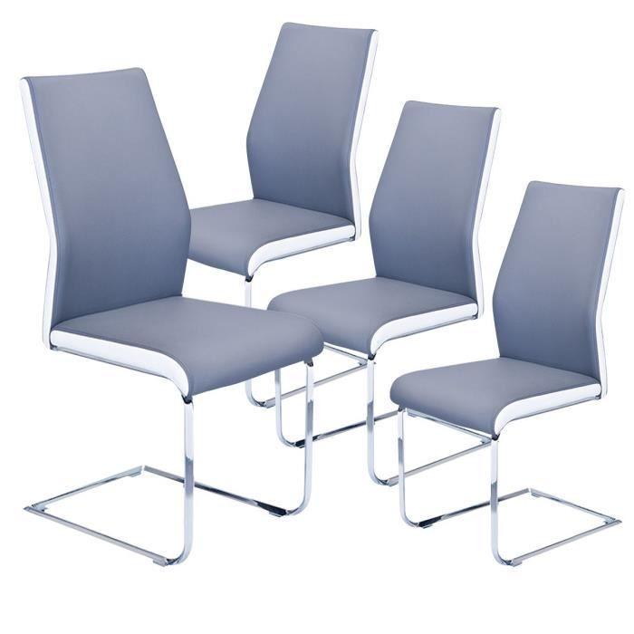 Hartford lot de 4 chaises grises et blanches achat for Lot de 4 chaises blanches