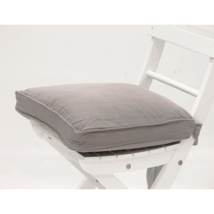 Galette de chaise 21 java gris grijs achat vente - Galette de chaise avec rabat ...