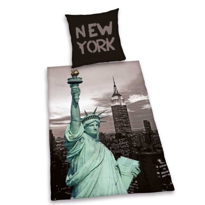 Housse de couette et une taie d 39 oreiller new york statut - Housse de couette new york une personne ...