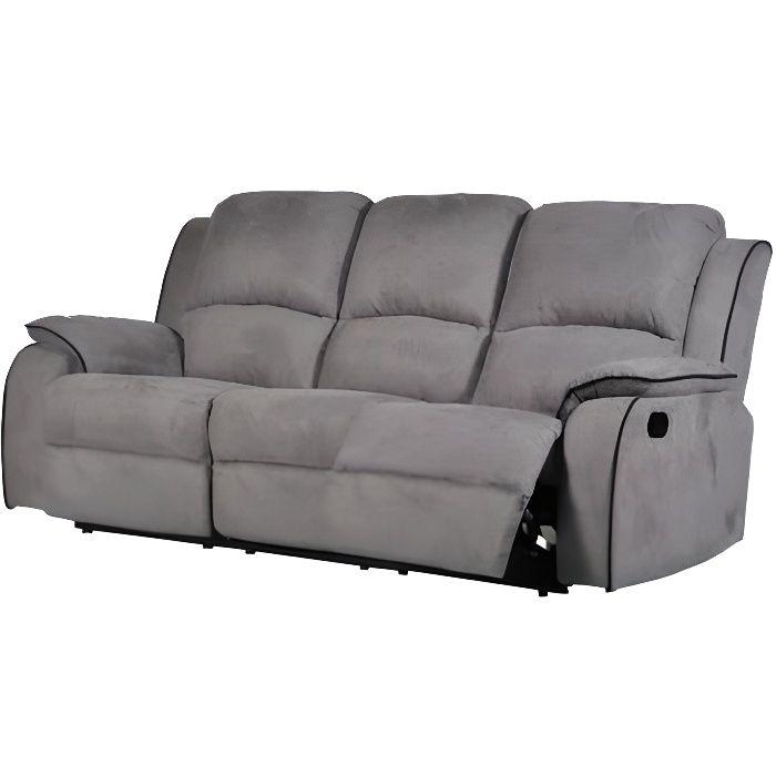 canap 3 places relax en microfibre hernani gris achat vente canap sofa divan cdiscount. Black Bedroom Furniture Sets. Home Design Ideas