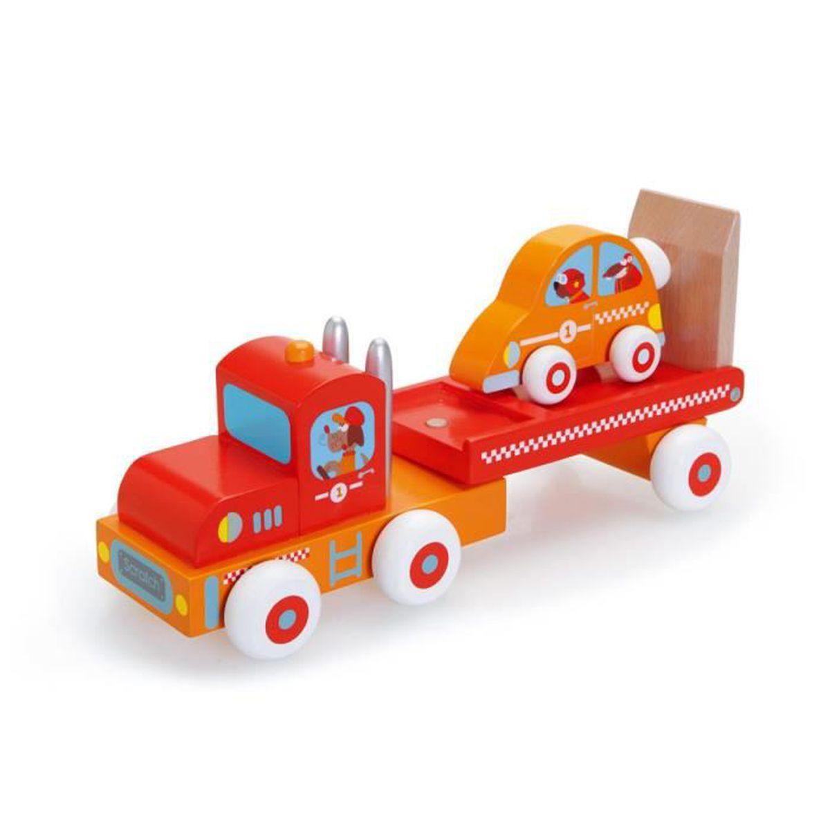 camion et voiture de course en bois scratch rouge achat vente jouet tirer cdiscount. Black Bedroom Furniture Sets. Home Design Ideas