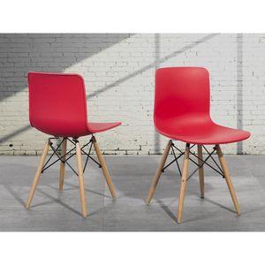Chaise en plastique design rouge achat vente chaise en - Chaise en plastique pas cher ...