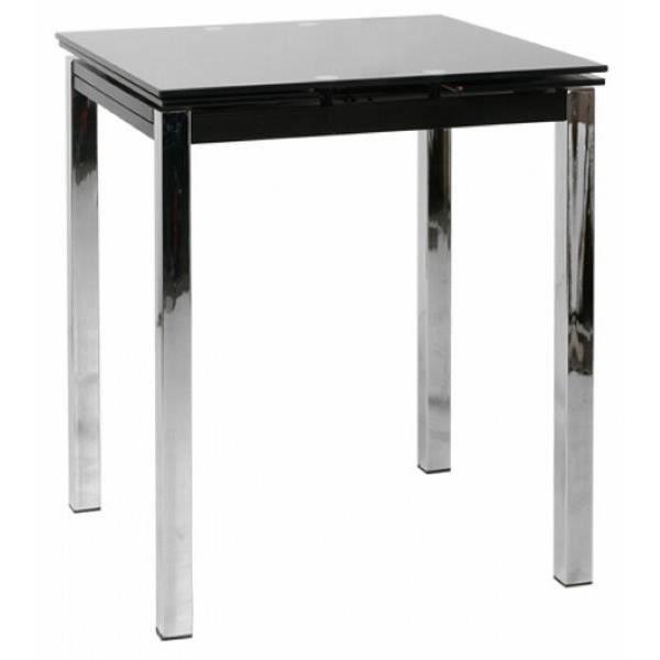 Table de bar moderne noire avec allonges 74cm meuble house - Table noire avec rallonge ...