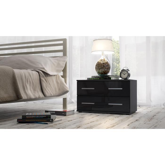 table de nuit noir de 60 cm 2 tiroirs achat vente commode de chambre table de nuit noir de. Black Bedroom Furniture Sets. Home Design Ideas