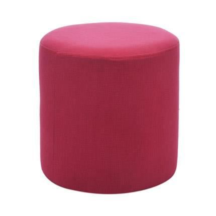 pouf rond en lin coloris framboise achat vente pouf. Black Bedroom Furniture Sets. Home Design Ideas