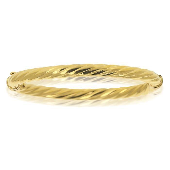 bracelet jonc rigide torsad en or jaune 18 carats achat. Black Bedroom Furniture Sets. Home Design Ideas