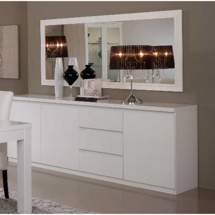 Bahut 3 portes 3 tiroirs l220cm miroir l180cm roma blanc achat vente buff - Style colonial anglais ...