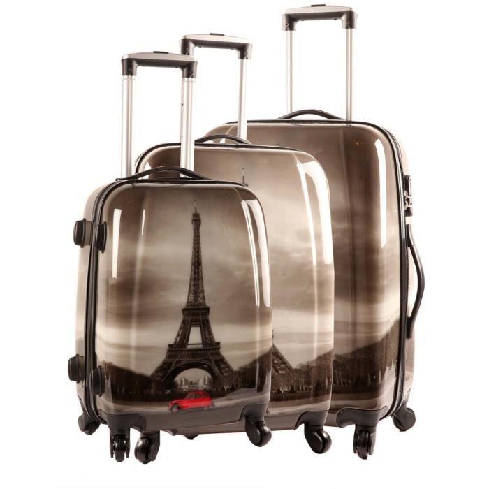 set de 3 valises collection 2015 tour eiffel avec voiture. Black Bedroom Furniture Sets. Home Design Ideas