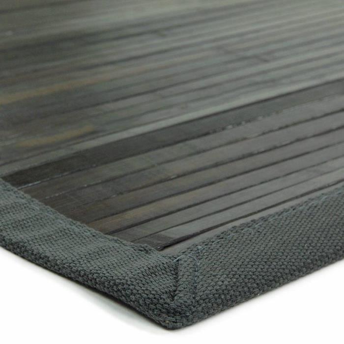 tapis solo bamboo lattes larges avec ganse coton 170x120cm gris achat vente tapis cdiscount. Black Bedroom Furniture Sets. Home Design Ideas