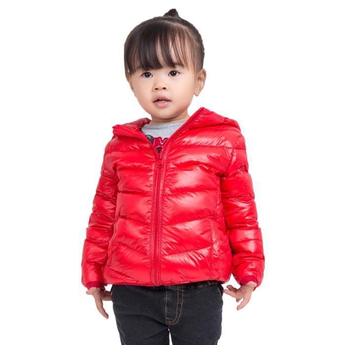 doudoune enfant duvet manteau capuche automne hiver veste blouson manche longue rouge achat. Black Bedroom Furniture Sets. Home Design Ideas