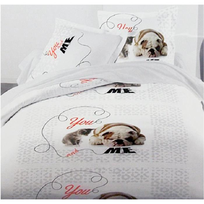 housse de couette 240x220 chien et chat 100 coton sur fond blanc et motif bleu clair achat. Black Bedroom Furniture Sets. Home Design Ideas