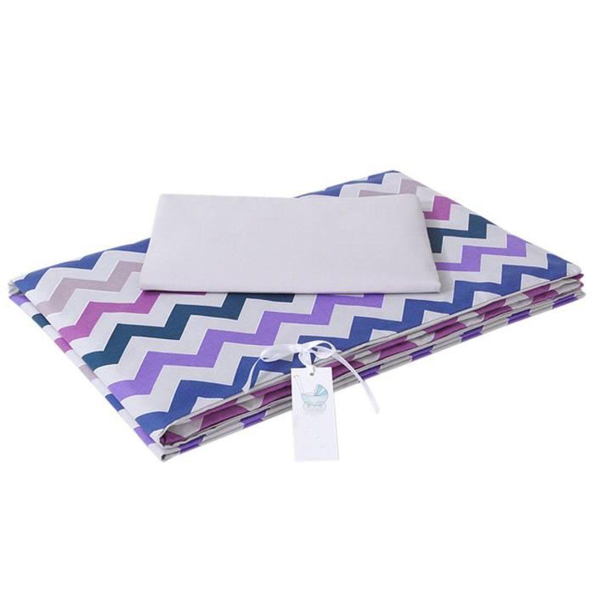 parure de lit b b avec design reversible zigzag violet 90x120 cm violet vi. Black Bedroom Furniture Sets. Home Design Ideas