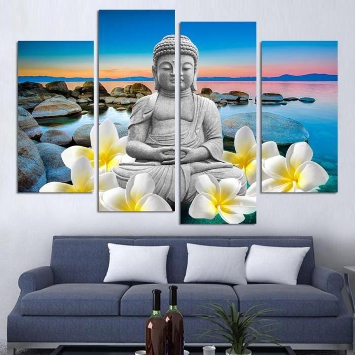Grande taille peinture bouddha toile pour d coration d 39 int rieur chambre canvas peinture cuadros - Deco chambre bouddha ...