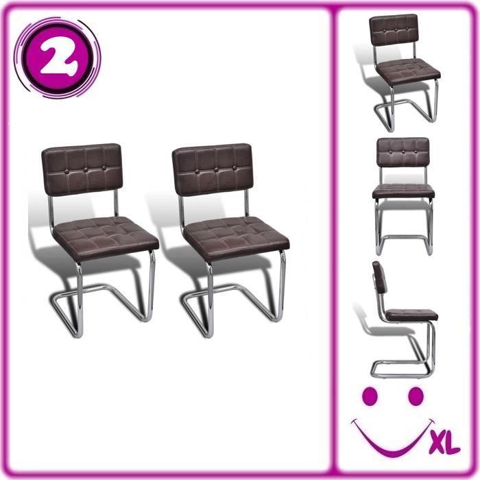 2 chaises boutons de salle manger en similicuir brun for Chaise de salle a manger brun