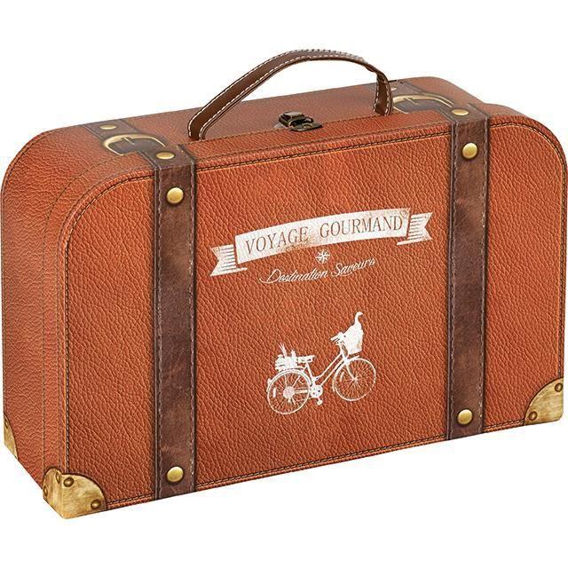 Petite valisette en carton marron imprim cuir bandes de renfort imprim cui - Chutes de cuir pas cher ...