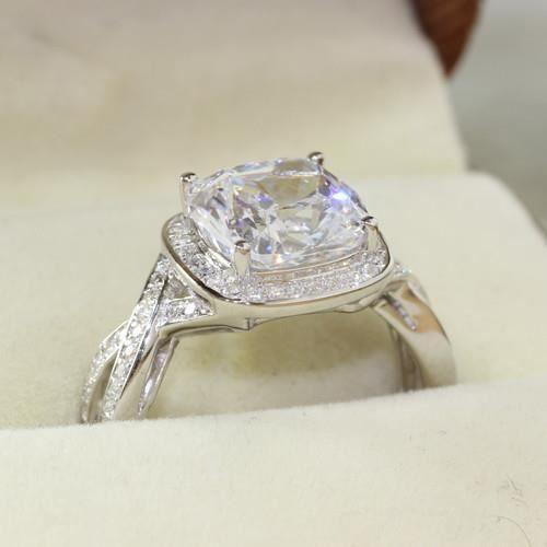Bague de fiançailles diamant synthétique taille 40 à 66