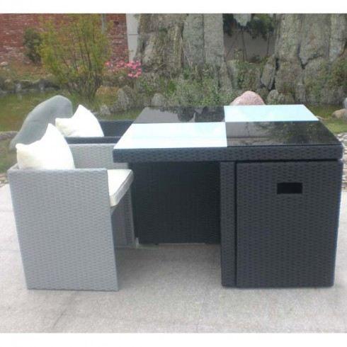 salon de jardin table et 4 fauteuils encastrables achat vente salon de jardin salon de. Black Bedroom Furniture Sets. Home Design Ideas