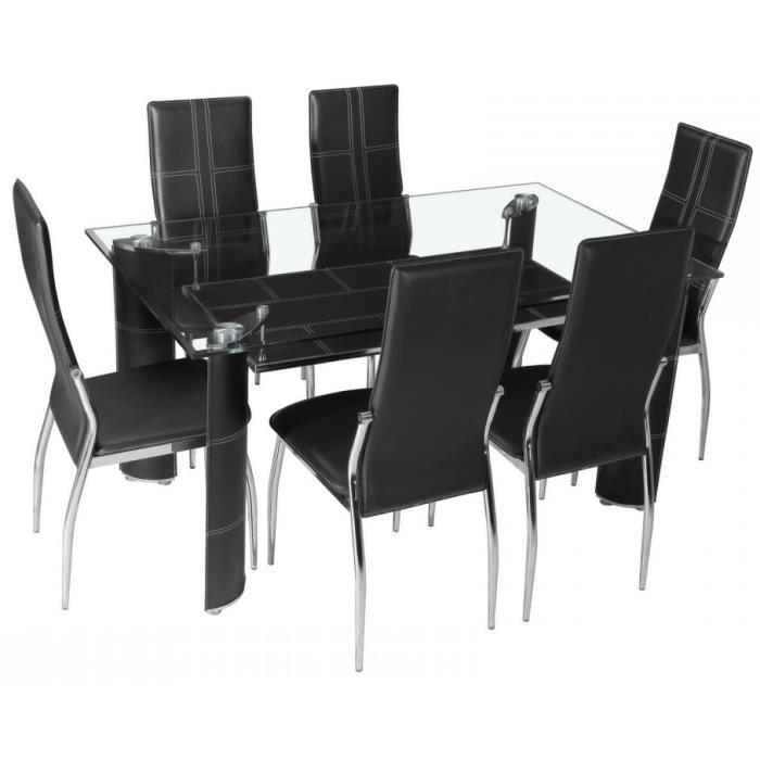 Table manger en verre 6 chaises pu noir achat for Table a manger chaises