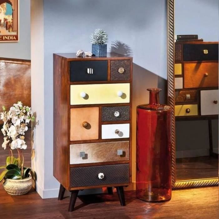 chiffonnier vintage zermatt en bois de manguier 8 tiroirs achat vente chiffonnier. Black Bedroom Furniture Sets. Home Design Ideas