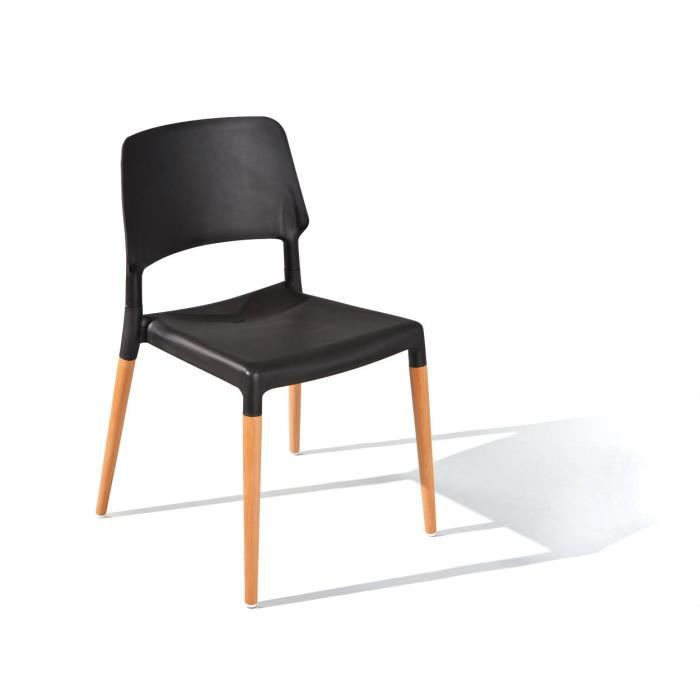 Lot de 4 chaises noire tilde pieds h tre achat vente for 4 pieds 4 chaises givors