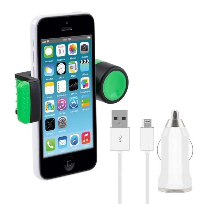 kwmobile support de voiture universel avec un bras pour apple iphone 5c en vert chargeur le. Black Bedroom Furniture Sets. Home Design Ideas
