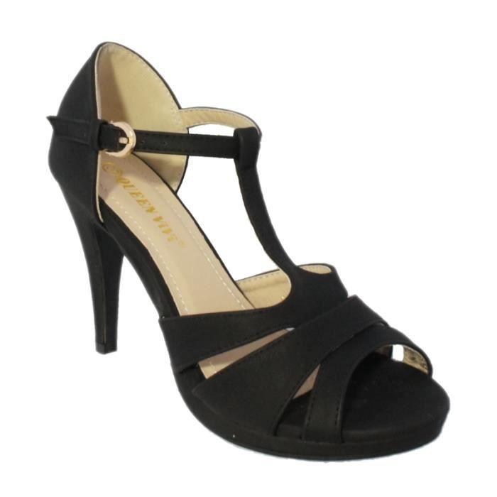 sandale talon avec bride la noir achat vente sandale talon avec bride pas cher. Black Bedroom Furniture Sets. Home Design Ideas