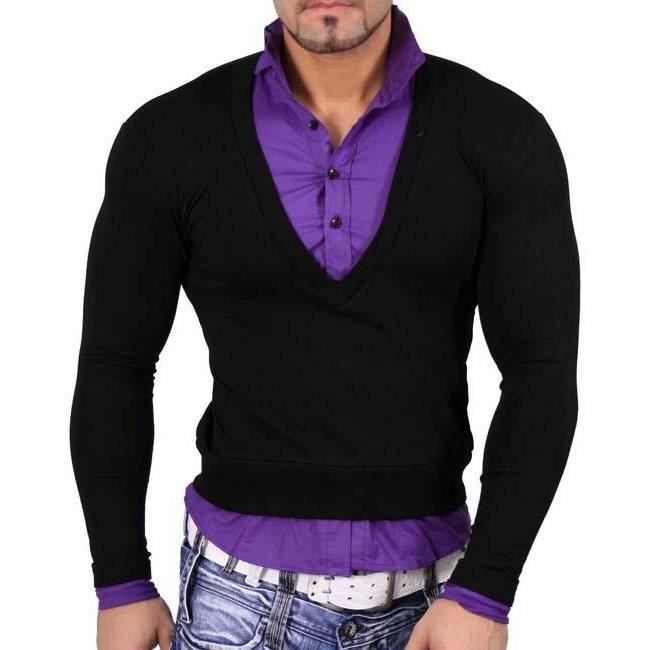 subliminal mode pull chemise 2en1 col montant h violet. Black Bedroom Furniture Sets. Home Design Ideas