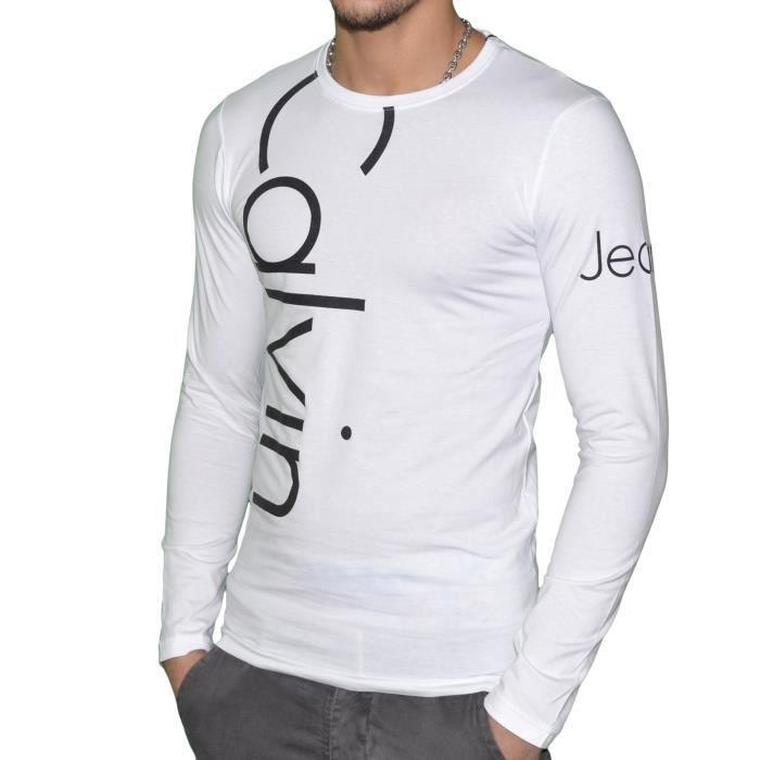 T shirt calvin klein jeans manche longue homme blanc et - Tee shirt manche longue calvin klein ...