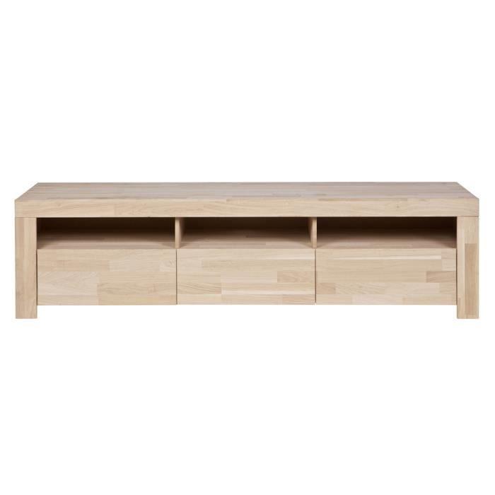 meuble tv ch ne massif h 46 x l 171 x p 44 cm achat vente meuble tv meuble tv h 46 x l 171. Black Bedroom Furniture Sets. Home Design Ideas