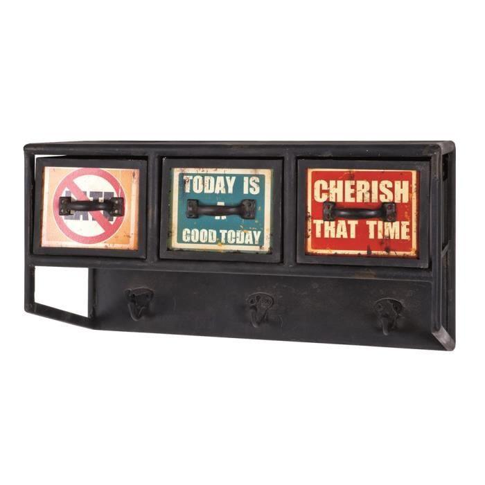 porte manteaux 3 tiroirs nils vintage achat vente porte manteau cdiscount. Black Bedroom Furniture Sets. Home Design Ideas