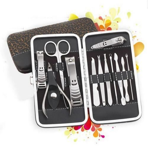 12pcs set nail trousse manucure p dicure ongle clipper cutter coupe soins kits achat vente. Black Bedroom Furniture Sets. Home Design Ideas