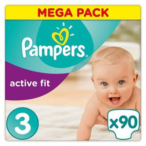 COUCHE PAMPERS Active Fit Taille 3 - 4 à 9 kg - 90 couche