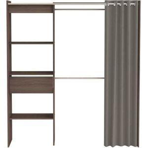 armoire dressing extensible kylian l114 168cm chocolat et gris achat vente armoire de. Black Bedroom Furniture Sets. Home Design Ideas