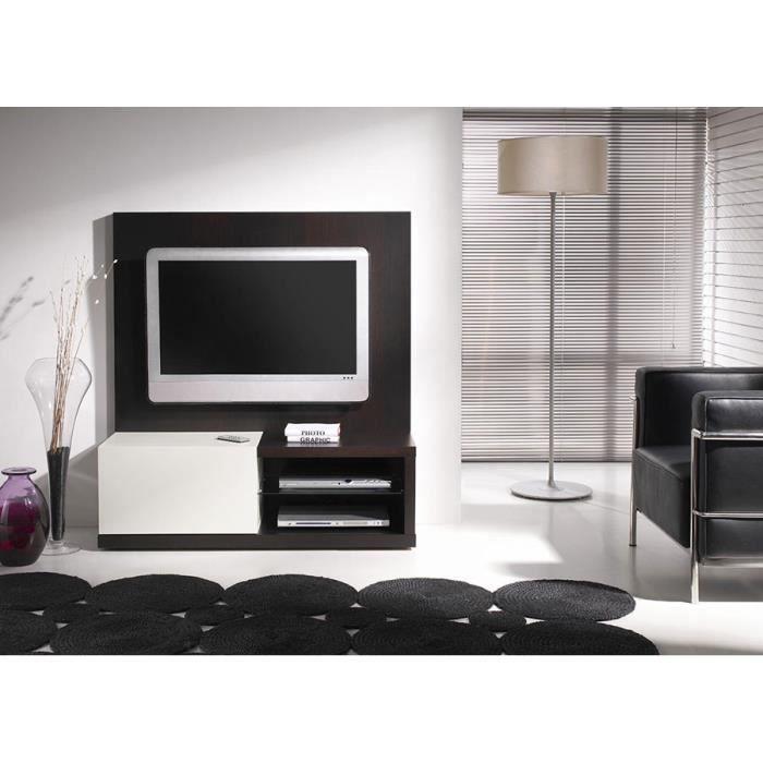 Meuble TV wengé et blanc laqué contemporain ANGIE Sans ...