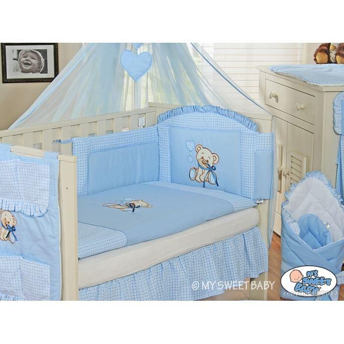 parure de lit b b teddy bleue avec tour de lit achat vente parure de lit b b parure de. Black Bedroom Furniture Sets. Home Design Ideas