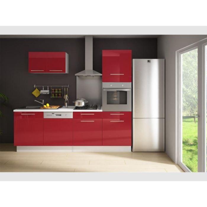 Cuisine compl te 240cm laqu rouge latitude achat for Cuisine complete rouge